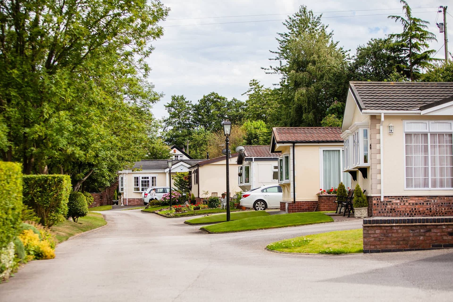 A row of park homes for sale in Cheshire.